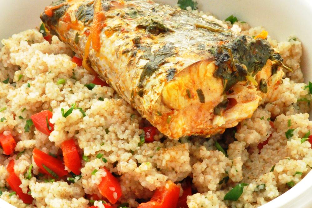 דג מרוקאי על קוסקוס מלא: מתכון בריאות